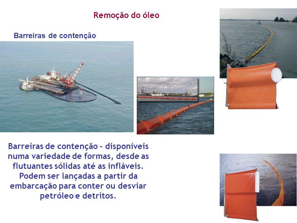 Remoção do óleo Barreiras de contenção - disponíveis numa variedade de formas, desde as flutuantes sólidas até as infláveis. Podem ser lançadas a part