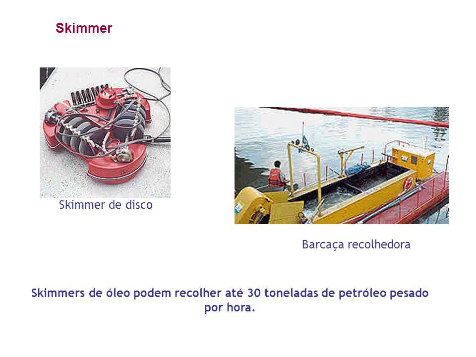 Skimmer de disco Barcaça recolhedora Skimmers de óleo podem recolher até 30 toneladas de petróleo pesado por hora. Skimmer