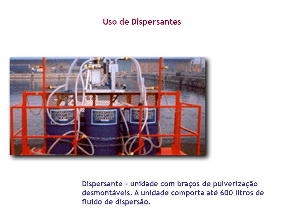 Dispersante - unidade com braços de pulverização desmontáveis. A unidade comporta até 600 litros de fluido de dispersão. Uso de Dispersantes