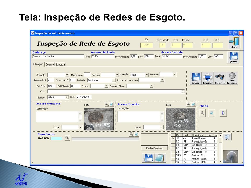 Tela: Inspeção de Redes de Esgoto.