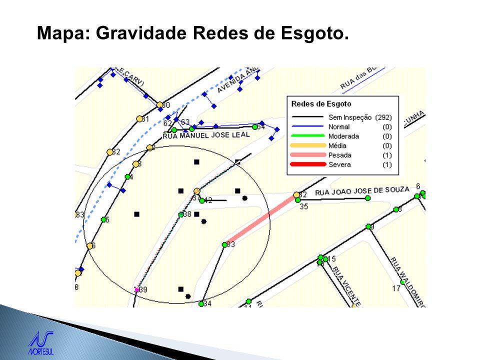 Mapa: Gravidade Redes de Esgoto.