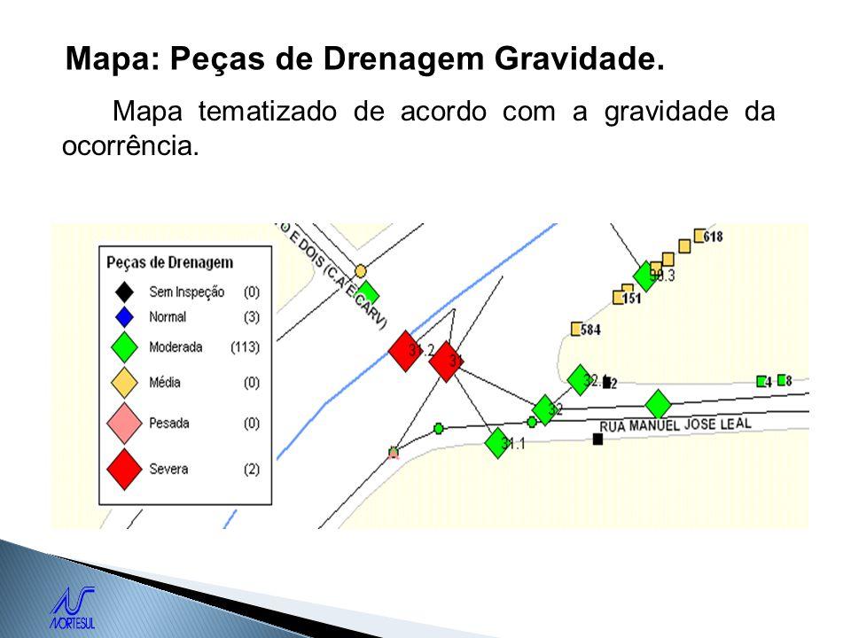 Mapa: Peças de Drenagem Gravidade. Mapa tematizado de acordo com a gravidade da ocorrência.