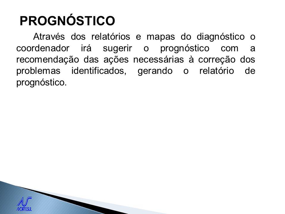 PROGNÓSTICO Através dos relatórios e mapas do diagnóstico o coordenador irá sugerir o prognóstico com a recomendação das ações necessárias à correção