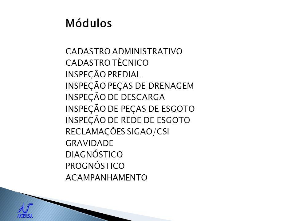 Módulos CADASTRO ADMINISTRATIVO CADASTRO TÉCNICO INSPEÇÃO PREDIAL INSPEÇÃO PEÇAS DE DRENAGEM INSPEÇÃO DE DESCARGA INSPEÇÃO DE PEÇAS DE ESGOTO INSPEÇÃO