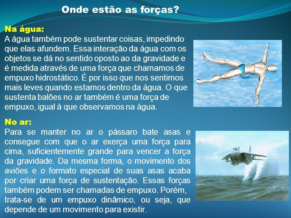 Onde estão as forças? Na água: A água também pode sustentar coisas, impedindo que elas afundem. Essa interação da água com os objetos se dá no sentido