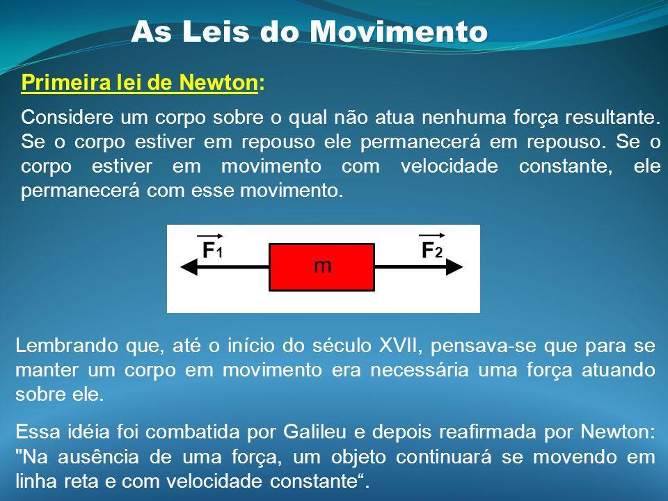 As Leis do Movimento Primeira lei de Newton: Considere um corpo sobre o qual não atua nenhuma força resultante. Se o corpo estiver em repouso ele perm