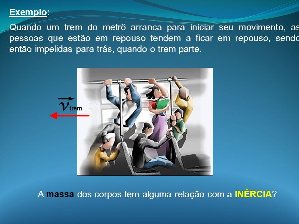 Exemplo: Quando um trem do metrô arranca para iniciar seu movimento, as pessoas que estão em repouso tendem a ficar em repouso, sendo então impelidas