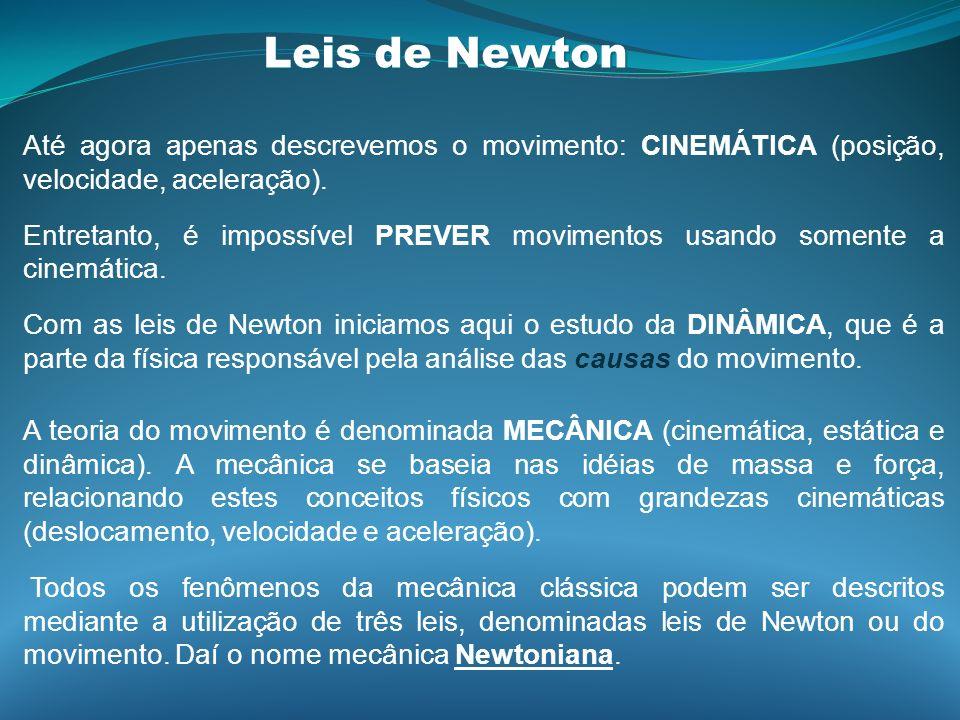 Leis de Newton Até agora apenas descrevemos o movimento: CINEMÁTICA (posição, velocidade, aceleração). Entretanto, é impossível PREVER movimentos usan