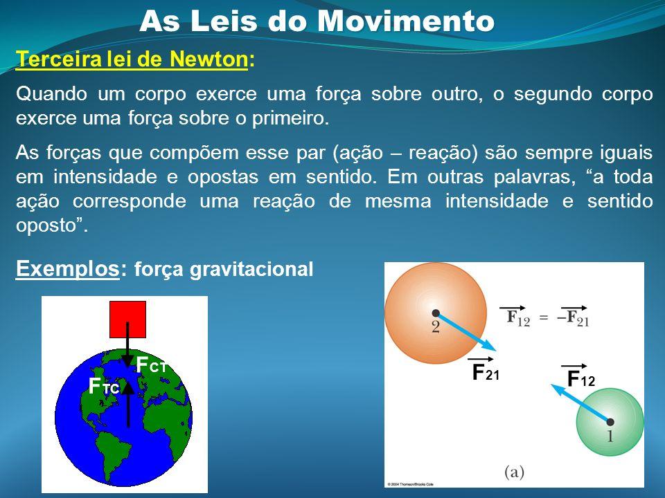 As Leis do Movimento Terceira lei de Newton: Quando um corpo exerce uma força sobre outro, o segundo corpo exerce uma força sobre o primeiro. As força