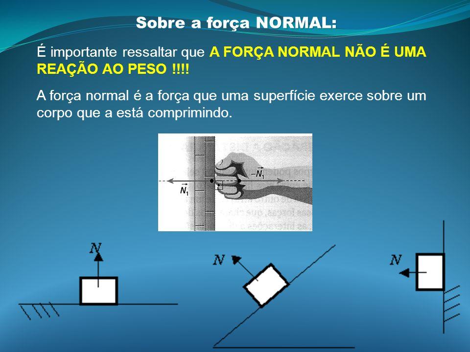 É importante ressaltar que A FORÇA NORMAL NÃO É UMA REAÇÃO AO PESO !!!! A força normal é a força que uma superfície exerce sobre um corpo que a está c