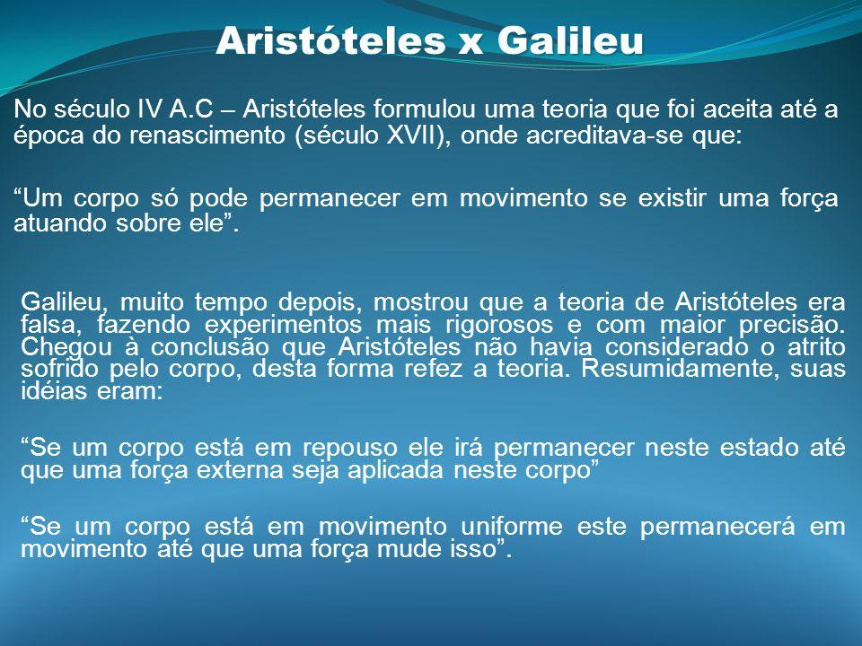 No século IV A.C – Aristóteles formulou uma teoria que foi aceita até a época do renascimento (século XVII), onde acreditava-se que: Um corpo só pode