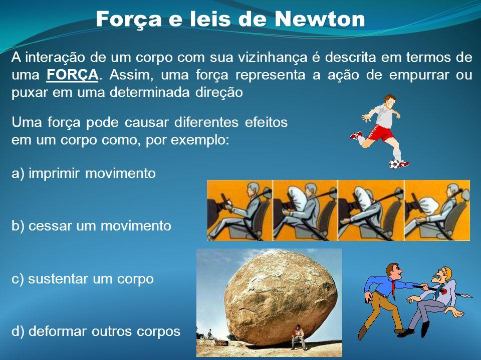 Força e leis de Newton A interação de um corpo com sua vizinhança é descrita em termos de uma FORÇA. Assim, uma força representa a ação de empurrar ou