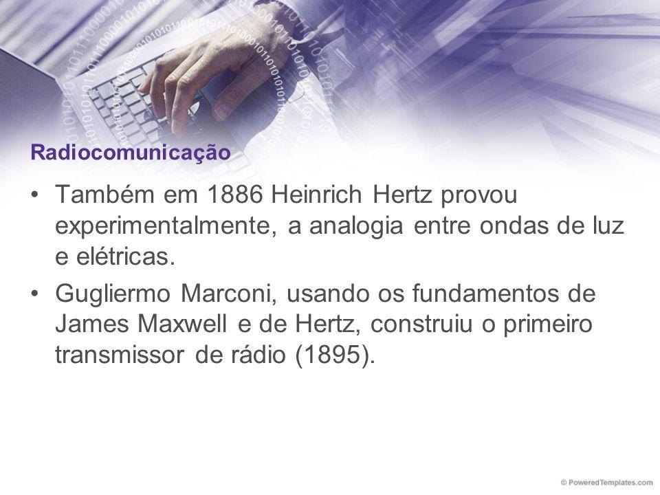 Radiocomunicação Também em 1886 Heinrich Hertz provou experimentalmente, a analogia entre ondas de luz e elétricas. Gugliermo Marconi, usando os funda