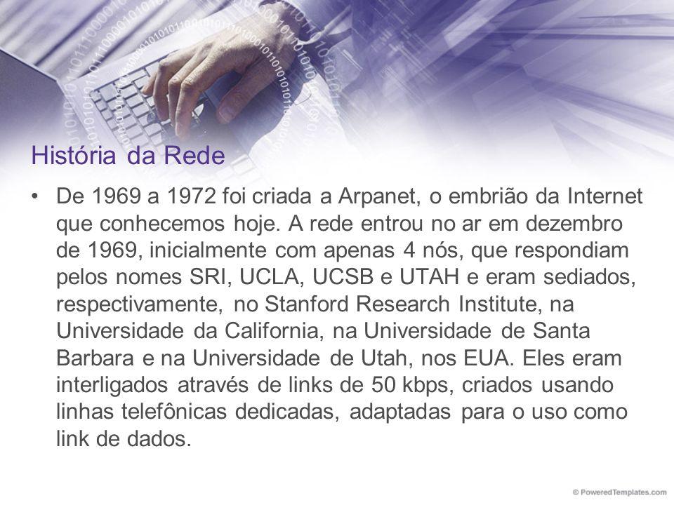 De 1969 a 1972 foi criada a Arpanet, o embrião da Internet que conhecemos hoje. A rede entrou no ar em dezembro de 1969, inicialmente com apenas 4 nós