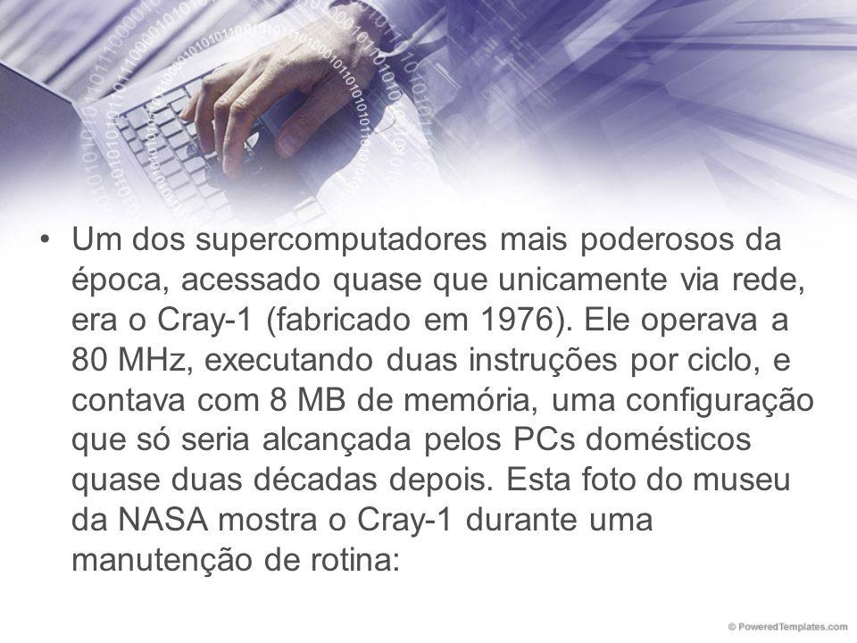 Um dos supercomputadores mais poderosos da época, acessado quase que unicamente via rede, era o Cray-1 (fabricado em 1976). Ele operava a 80 MHz, exec