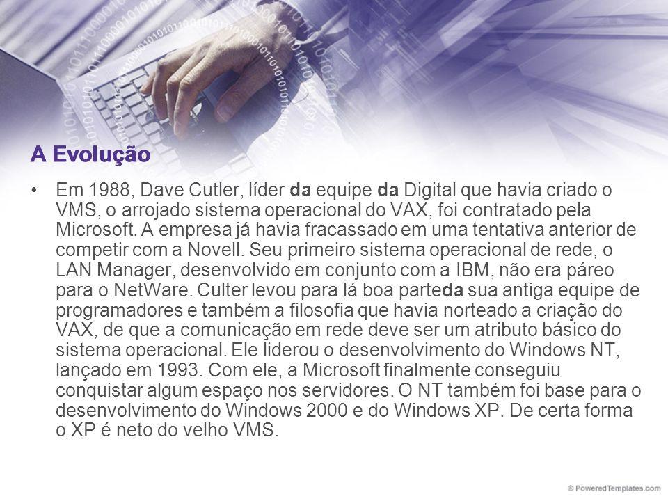 A Evolução Em 1988, Dave Cutler, líder da equipe da Digital que havia criado o VMS, o arrojado sistema operacional do VAX, foi contratado pela Microso