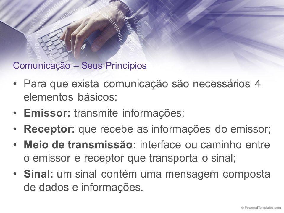 Para que exista comunicação são necessários 4 elementos básicos: Emissor: transmite informações; Receptor: que recebe as informações do emissor; Meio