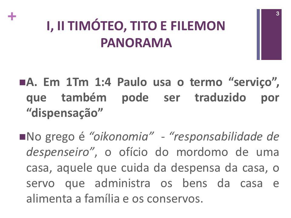 + I,II TIMÓTEO, TITO E FILEMON PANORAMA O titulo dessa mensagem é O trabalhar de Deus versus os ensinamentos diferentes Qual é o centro da revelação de Deus, o ponto central do seu trabalhar, seu dispensar.