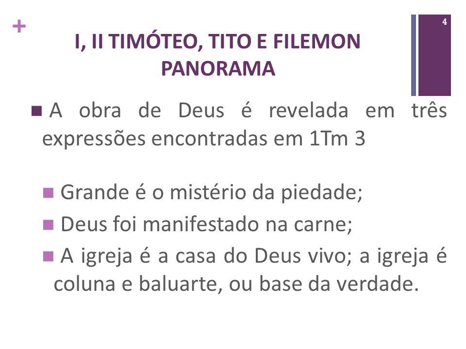 + I, II TIMÓTEO, TITO E FILEMON PANORAMA B.Segunda Timóteo imuniza a igreja contra o declínio.