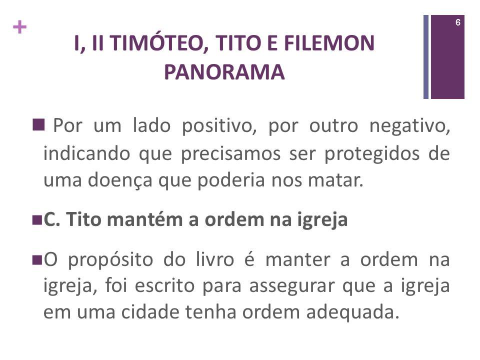 + I, II TIMÓTEO, TITO E FILEMON PANORAMA As seguintes coisas básicas são enfatizadas repetidamente nesses três livros: 1.