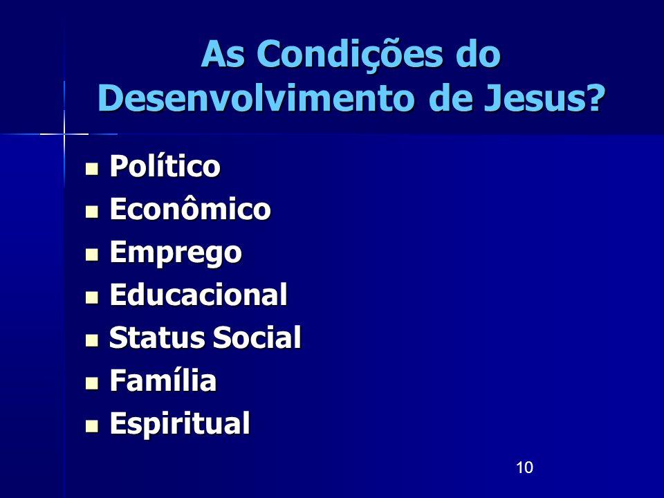10 As Condições do Desenvolvimento de Jesus? Político Político Econômico Econômico Emprego Emprego Educacional Educacional Status Social Status Social