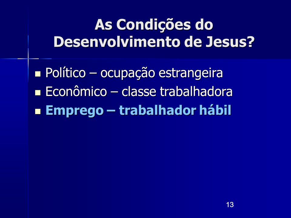 13 As Condições do Desenvolvimento de Jesus? Político – ocupação estrangeira Político – ocupação estrangeira Econômico – classe trabalhadora Econômico