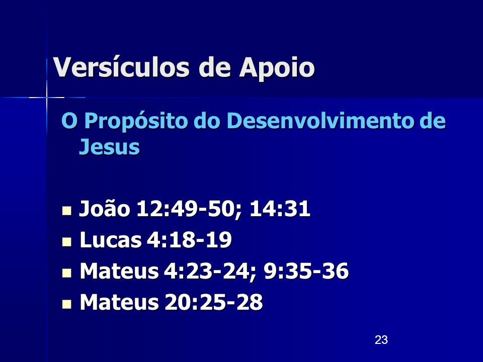 23 Versículos de Apoio O Propósito do Desenvolvimento de Jesus João 12:49-50; 14:31 João 12:49-50; 14:31 Lucas 4:18-19 Lucas 4:18-19 Mateus 4:23-24; 9