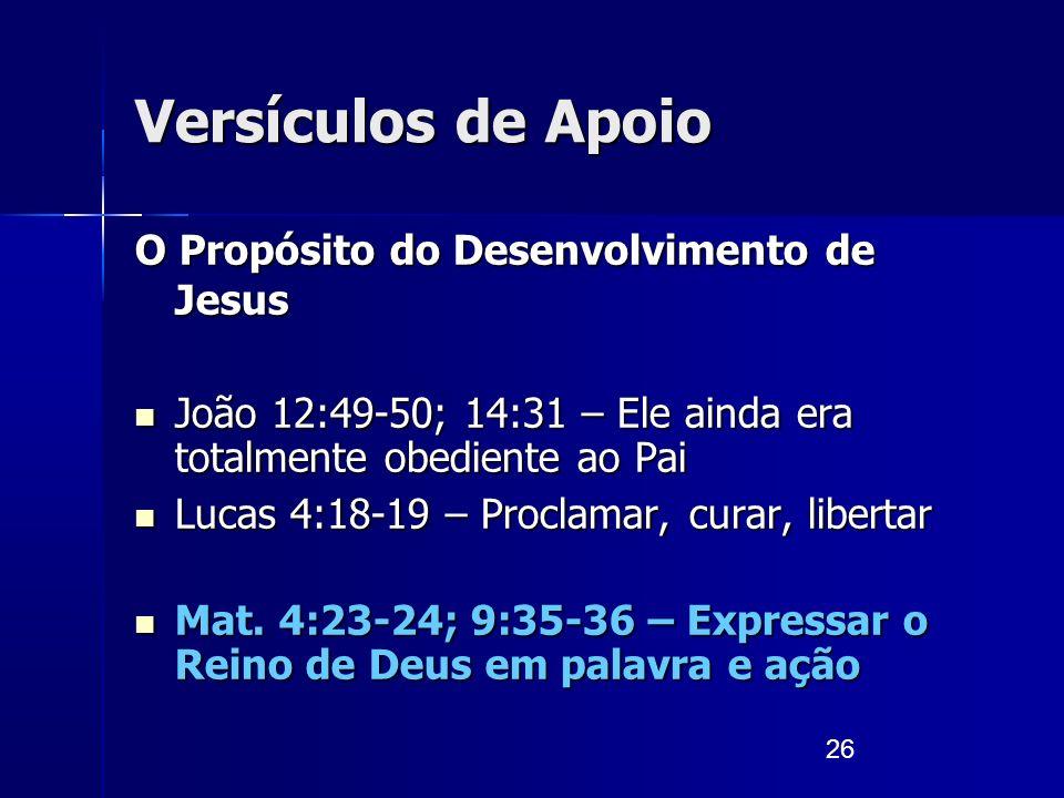 26 Versículos de Apoio O Propósito do Desenvolvimento de Jesus João 12:49-50; 14:31 – Ele ainda era totalmente obediente ao Pai João 12:49-50; 14:31 –