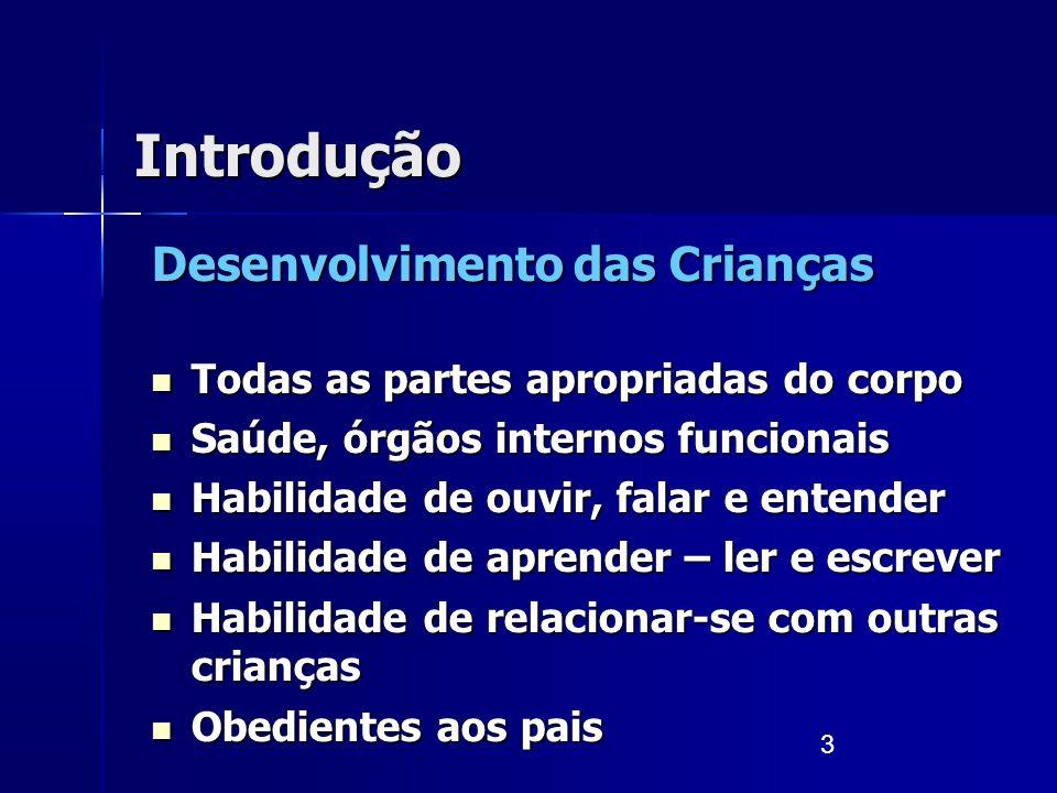 3 Introdução Desenvolvimento das Crianças Todas as partes apropriadas do corpo Todas as partes apropriadas do corpo Saúde, órgãos internos funcionais