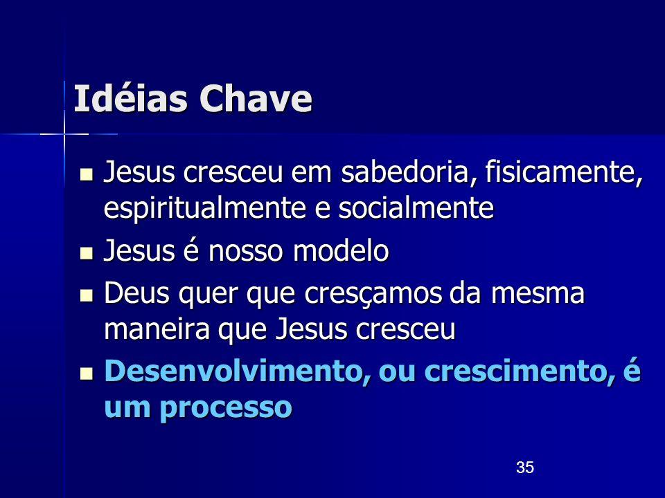 35 Idéias Chave Jesus cresceu em sabedoria, fisicamente, espiritualmente e socialmente Jesus cresceu em sabedoria, fisicamente, espiritualmente e soci