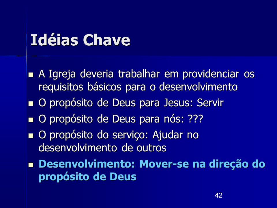 42 Idéias Chave A Igreja deveria trabalhar em providenciar os requisitos básicos para o desenvolvimento A Igreja deveria trabalhar em providenciar os