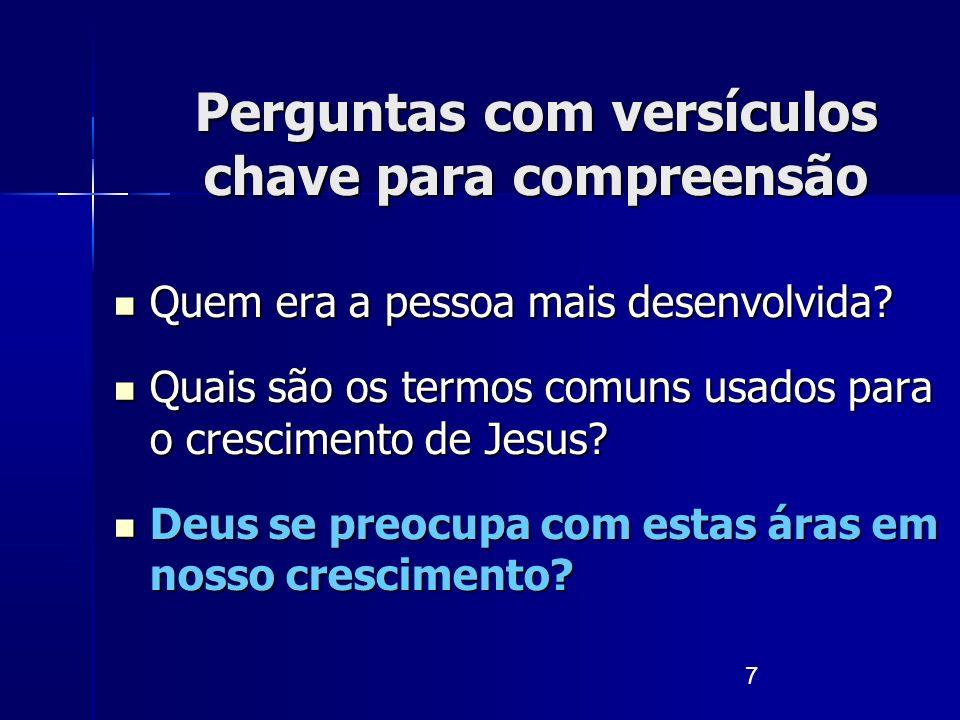 7 Quem era a pessoa mais desenvolvida? Quem era a pessoa mais desenvolvida? Quais são os termos comuns usados para o crescimento de Jesus? Quais são o