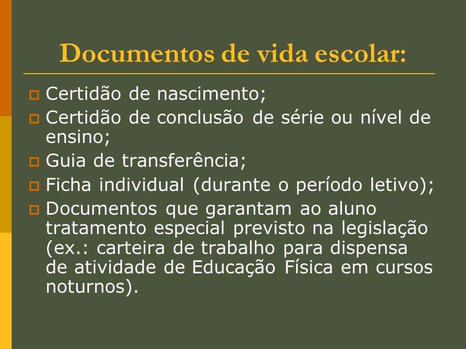 Documentos de vida escolar: Certidão de nascimento; Certidão de conclusão de série ou nível de ensino; Guia de transferência; Ficha individual (durant