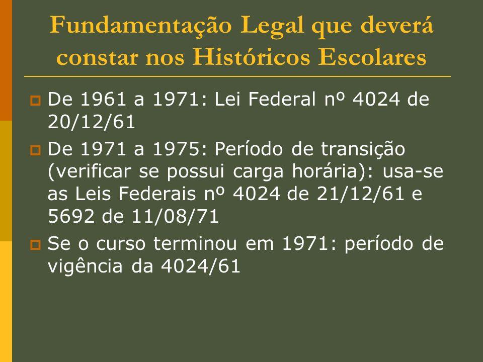Fundamentação Legal que deverá constar nos Históricos Escolares De 1961 a 1971: Lei Federal nº 4024 de 20/12/61 De 1971 a 1975: Período de transição (