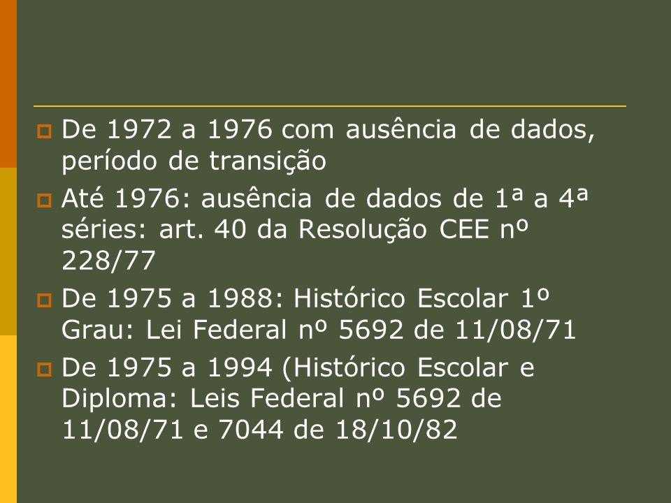 De 1972 a 1976 com ausência de dados, período de transição Até 1976: ausência de dados de 1ª a 4ª séries: art. 40 da Resolução CEE nº 228/77 De 1975 a