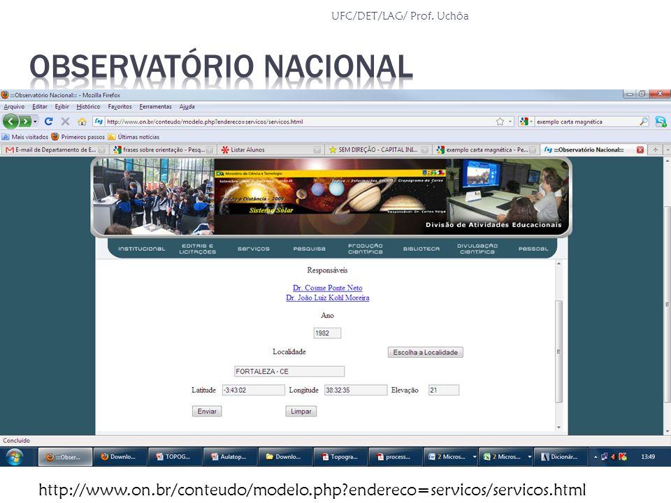 http://www.on.br/conteudo/modelo.php?endereco=servicos/servicos.html UFC/DET/LAG/ Prof. Uchôa