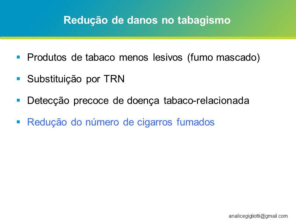 analicegigliotti@gmail.com Redução de danos no tabagismo Produtos de tabaco menos lesivos (fumo mascado) Substituição por TRN Detecção precoce de doen