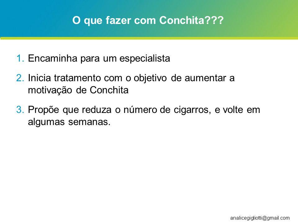 analicegigliotti@gmail.com O que fazer com Conchita??? 1.Encaminha para um especialista 2.Inicia tratamento com o objetivo de aumentar a motivação de