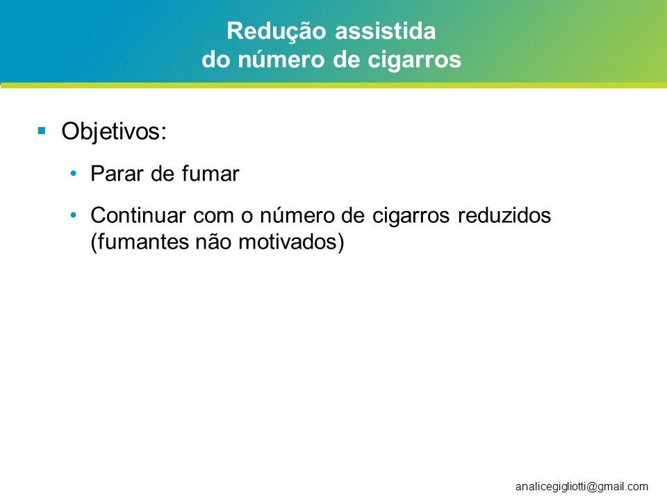analicegigliotti@gmail.com Redução assistida do número de cigarros Objetivos: Parar de fumar Continuar com o número de cigarros reduzidos (fumantes nã