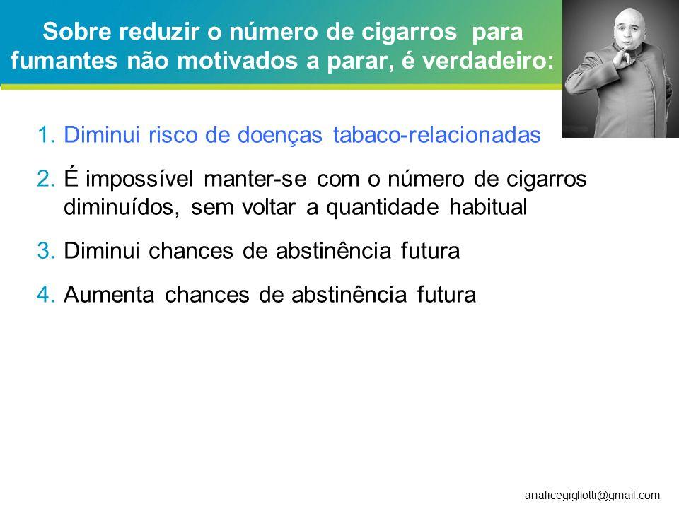 analicegigliotti@gmail.com Redução de danos no tabagismo Produtos de tabaco menos lesivos (fumo mascado) Substituição por TRN Detecção precoce de doença tabaco-relacionada Redução do número de cigarros fumados