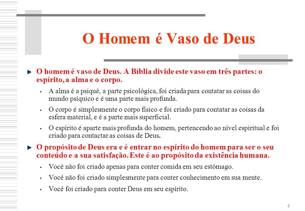 4 O Homem é Vaso de Deus O homem é vaso de Deus. A Bíblia divide este vaso em três partes: o espírito, a alma e o corpo. A alma é a psiquê, a parte ps