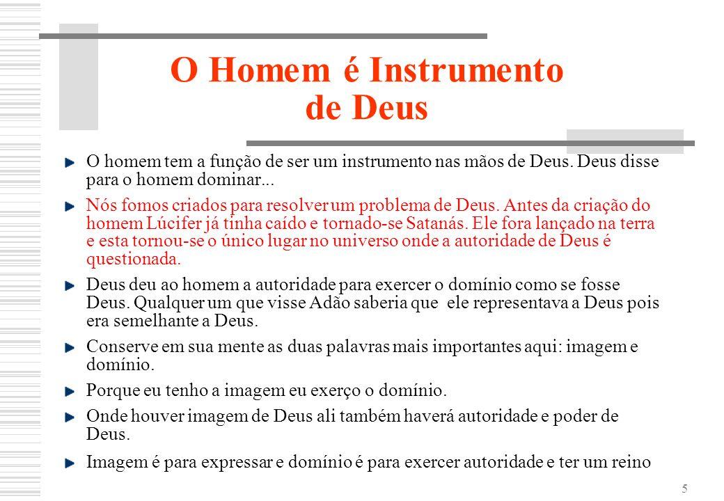 5 O Homem é Instrumento de Deus O homem tem a função de ser um instrumento nas mãos de Deus. Deus disse para o homem dominar... Nós fomos criados para