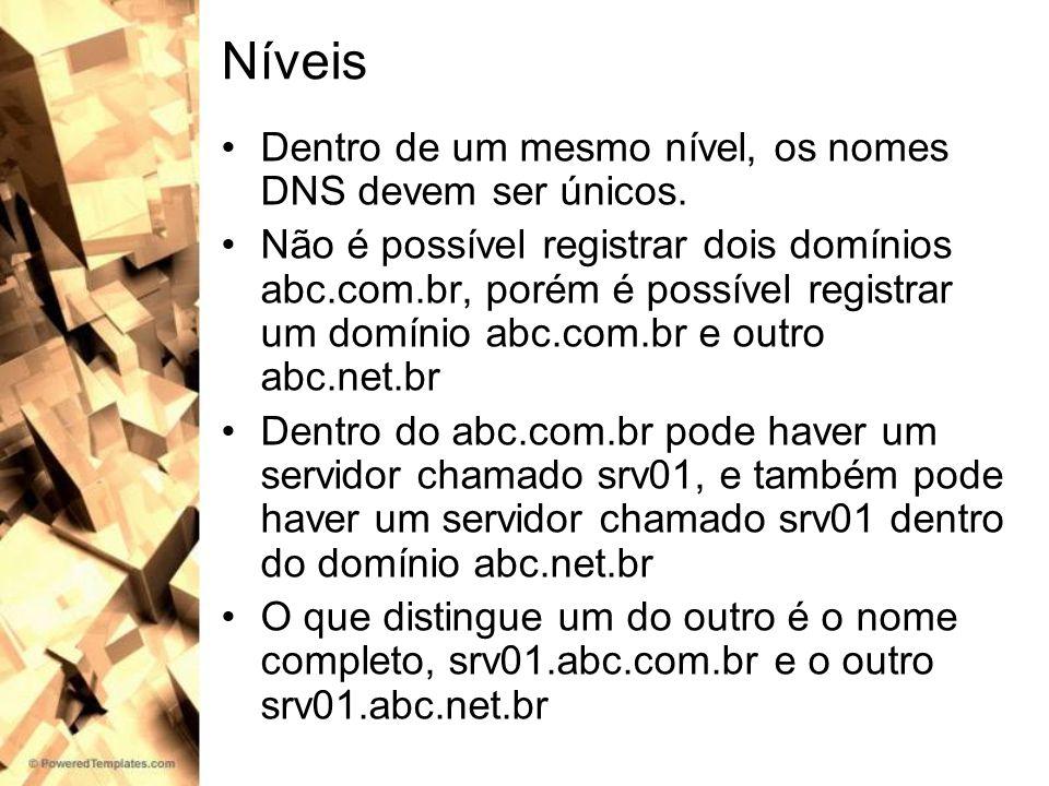 Níveis Dentro de um mesmo nível, os nomes DNS devem ser únicos. Não é possível registrar dois domínios abc.com.br, porém é possível registrar um domín