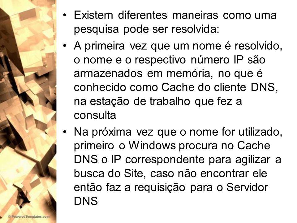 Chegando a consulta ao servidor, primeiro o servidor DNS consulta sua própria memória Cache para ver se não esta ali armazenado o IP correspondente a solicitação do usuário Se não for encontrada uma resposta no Cache do servidor DNS, o servidor pode tentar resolver a consulta usando as informações da sua base de dados ou pode enviar a consulta para outros servidores DNS, processo chamado de recursão