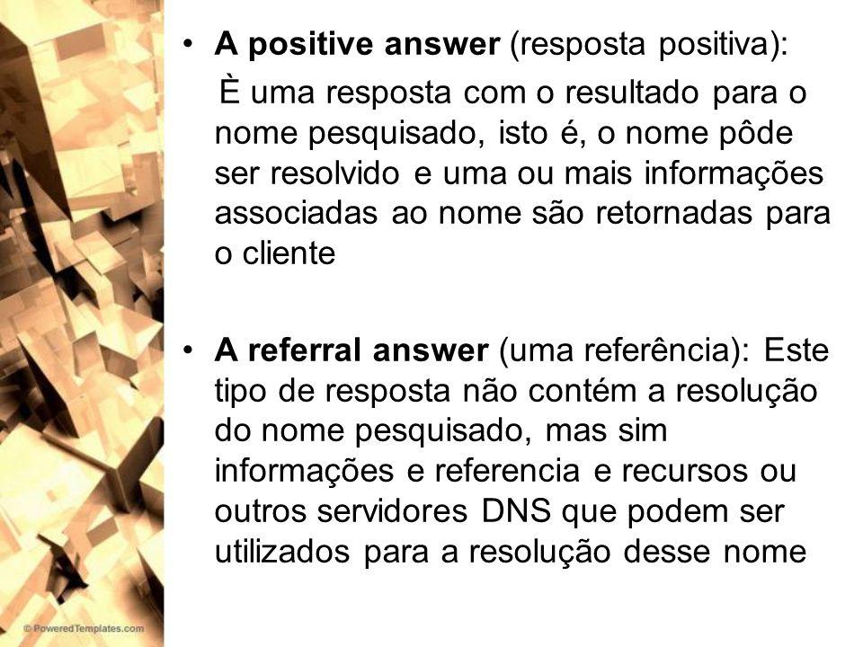 A positive answer (resposta positiva): È uma resposta com o resultado para o nome pesquisado, isto é, o nome pôde ser resolvido e uma ou mais informaç