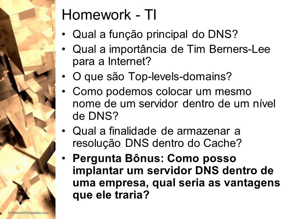 Homework - TI Qual a função principal do DNS? Qual a importância de Tim Berners-Lee para a Internet? O que são Top-levels-domains? Como podemos coloca