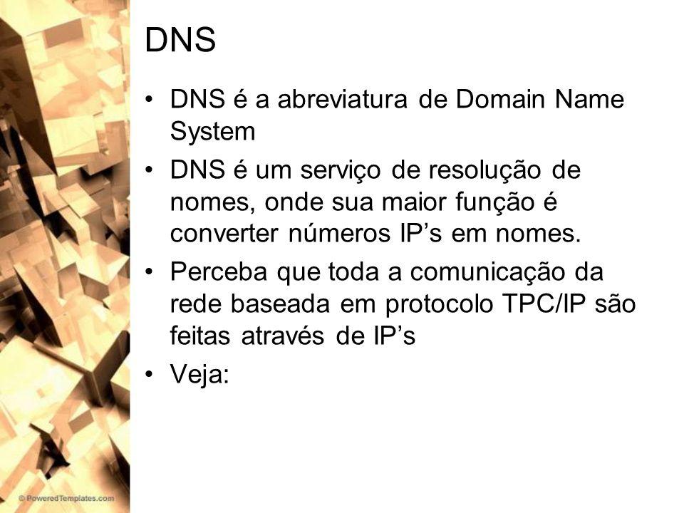 DNS DNS é a abreviatura de Domain Name System DNS é um serviço de resolução de nomes, onde sua maior função é converter números IPs em nomes. Perceba