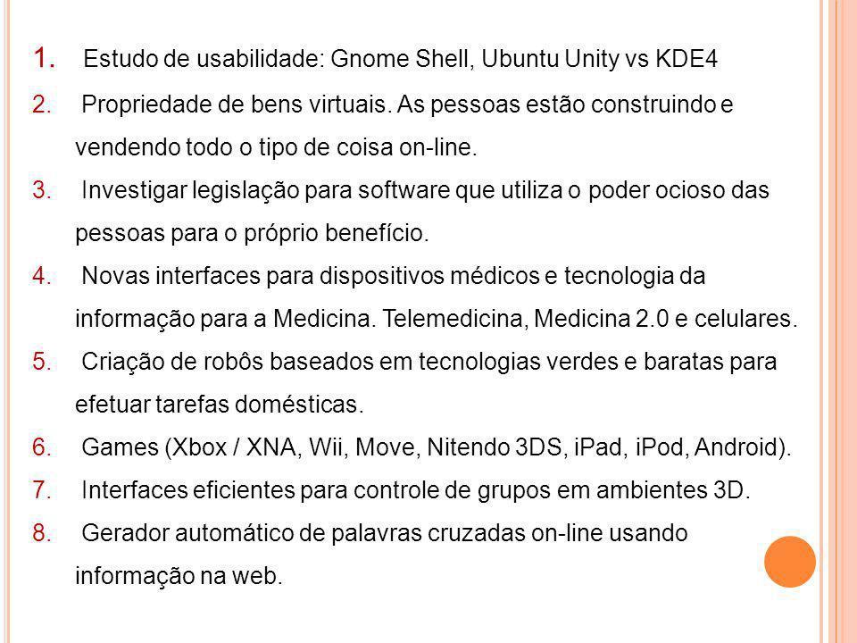 1. Estudo de usabilidade: Gnome Shell, Ubuntu Unity vs KDE4 2. Propriedade de bens virtuais. As pessoas estão construindo e vendendo todo o tipo de co