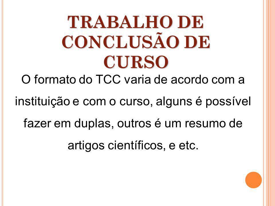O formato do TCC varia de acordo com a instituição e com o curso, alguns é possível fazer em duplas, outros é um resumo de artigos científicos, e etc.