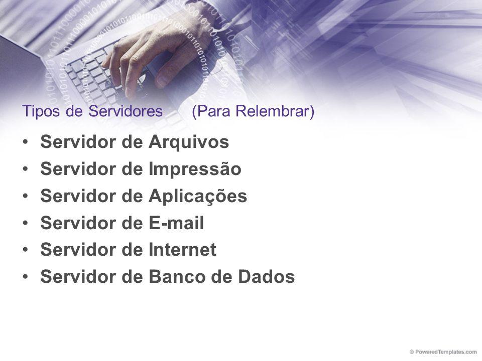 Tipos de Servidores (Para Relembrar) Servidor de Arquivos Servidor de Impressão Servidor de Aplicações Servidor de E-mail Servidor de Internet Servido